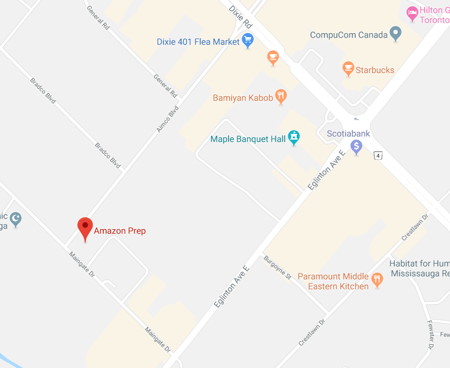 Amazon Prep Office and Warehouse 1200 Aimco Blvd Mississauga map